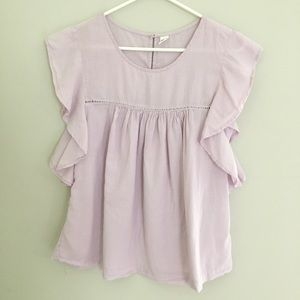 Old Navy lavender flutter sleeve peasant top small